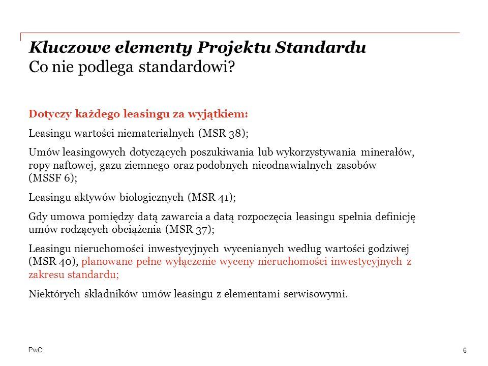 PwC Dotyczy każdego leasingu za wyjątkiem: Leasingu wartości niematerialnych (MSR 38); Umów leasingowych dotyczących poszukiwania lub wykorzystywania