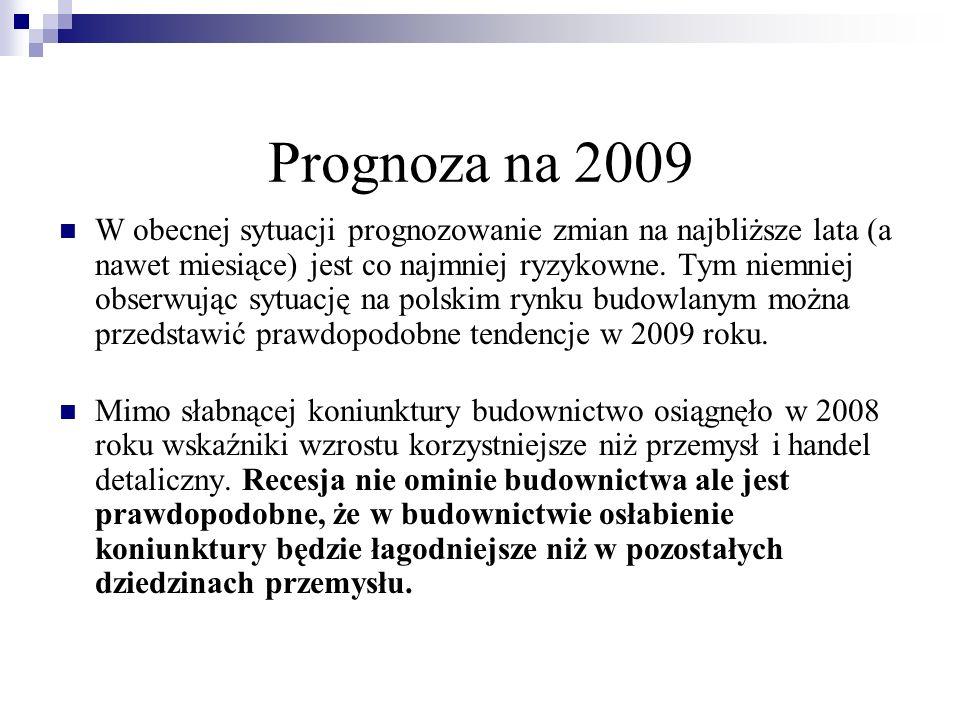 Prognoza na 2009 W obecnej sytuacji prognozowanie zmian na najbliższe lata (a nawet miesiące) jest co najmniej ryzykowne. Tym niemniej obserwując sytu