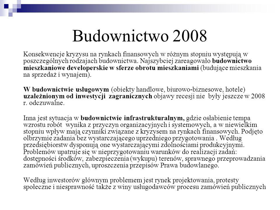 Budownictwo 2008 Konsekwencje kryzysu na rynkach finansowych w różnym stopniu występują w poszczególnych rodzajach budownictwa. Najszybciej zareagował