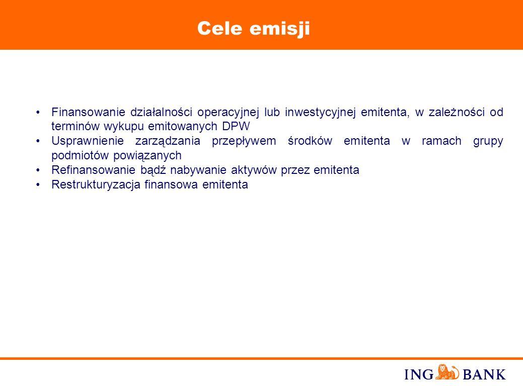 9 Rynkowa pozycja ING Banku W 1994 roku ING Bank zainicjował rozwój polskiego rynku DPW organizując programy emisji Komercyjnych Weksli Inwestycyjno-T