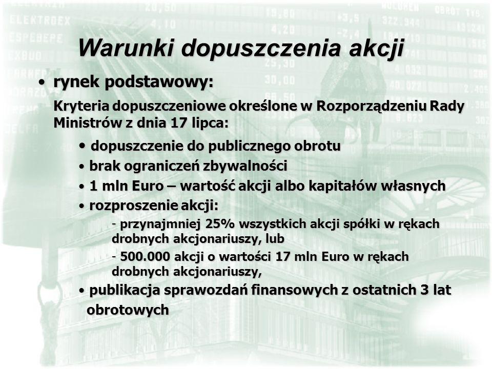 rynek podstawowy:rynek podstawowy: Kryteria dopuszczeniowe określone w Rozporządzeniu Rady Ministrów z dnia 17 lipca: dopuszczenie do publicznego obro