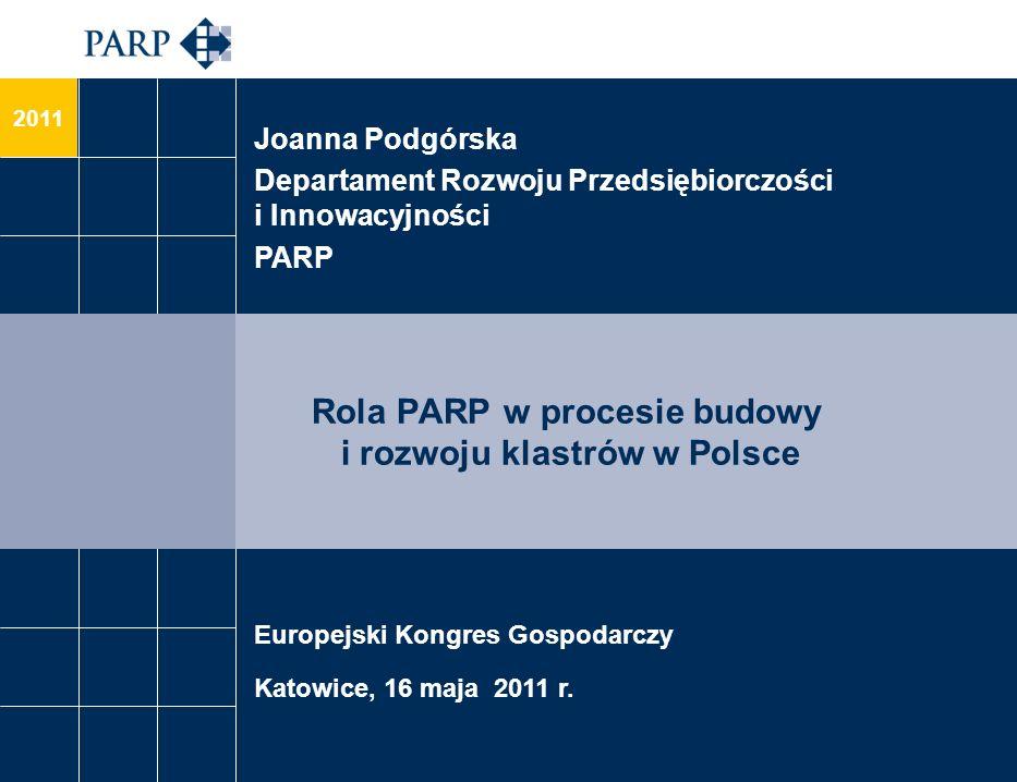 2011 Rola PARP w procesie budowy i rozwoju klastrów w Polsce Joanna Podgórska Departament Rozwoju Przedsiębiorczości i Innowacyjności PARP Europejski Kongres Gospodarczy Katowice, 16 maja 2011 r.