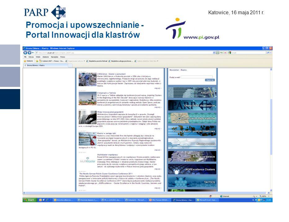 Katowice, 16 maja 2011 r. Promocja i upowszechnianie - Portal Innowacji dla klastrów
