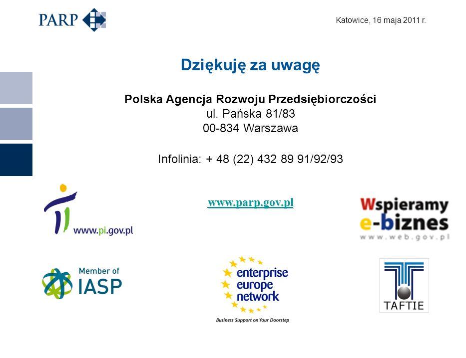 Katowice, 16 maja 2011 r. Dziękuję za uwagę Polska Agencja Rozwoju Przedsiębiorczości ul.