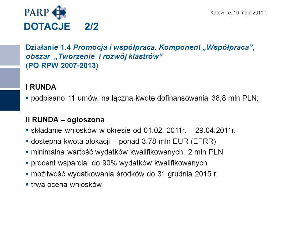 Katowice, 16 maja 2011 r. DOTACJE 2/2 Działanie 1.4 Promocja i współpraca.