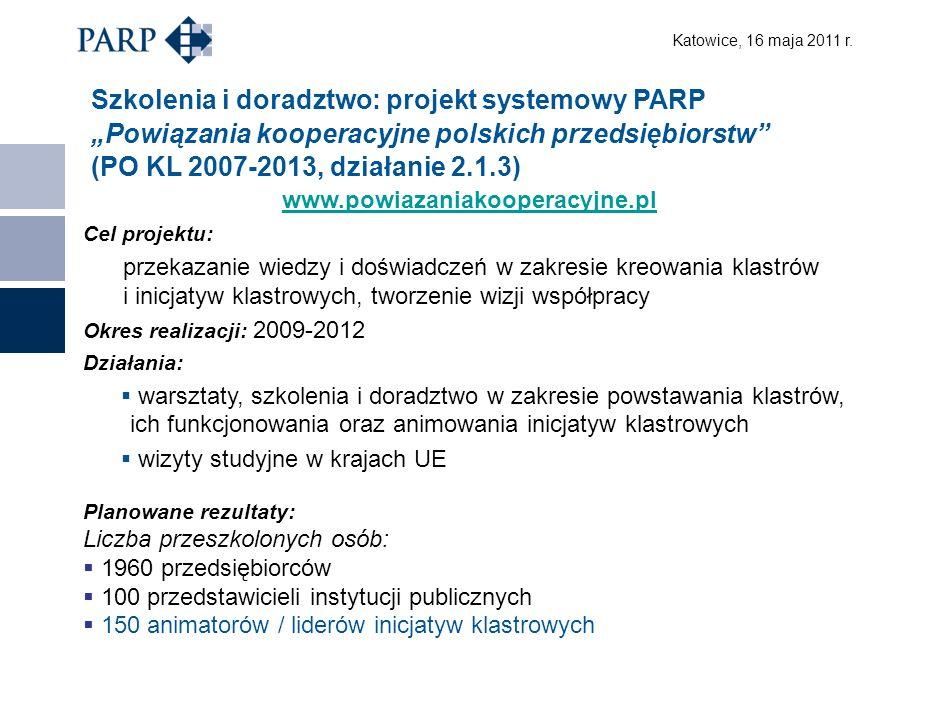 Katowice, 16 maja 2011 r.Dziękuję za uwagę Polska Agencja Rozwoju Przedsiębiorczości ul.