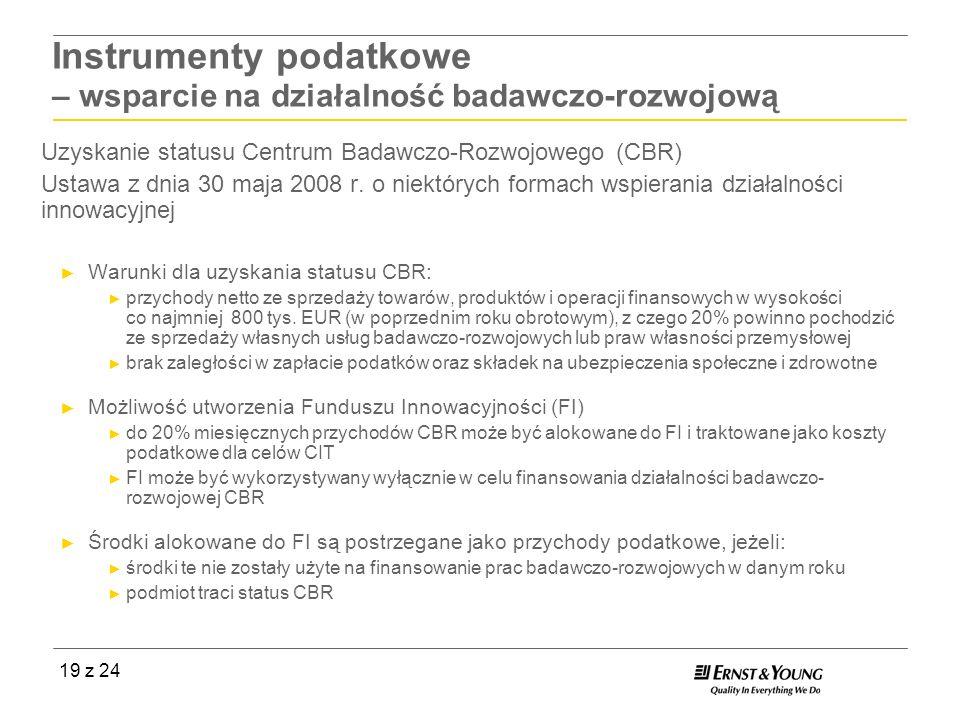 19 z 24 Uzyskanie statusu Centrum Badawczo-Rozwojowego (CBR) Ustawa z dnia 30 maja 2008 r. o niektórych formach wspierania działalności innowacyjnej W