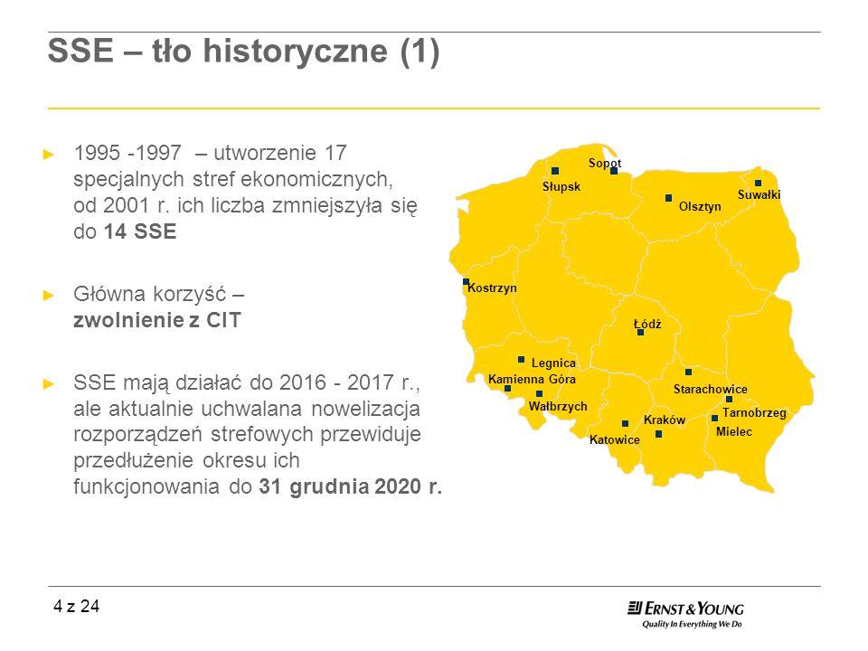 4 z 24 SSE – tło historyczne (1) 1995 -1997 – utworzenie 17 specjalnych stref ekonomicznych, od 2001 r. ich liczba zmniejszyła się do 14 SSE Główna ko