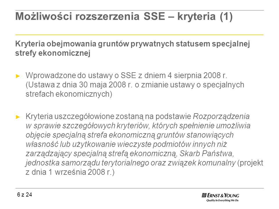 6 z 24 Możliwości rozszerzenia SSE – kryteria (1) Kryteria obejmowania gruntów prywatnych statusem specjalnej strefy ekonomicznej Wprowadzone do ustaw