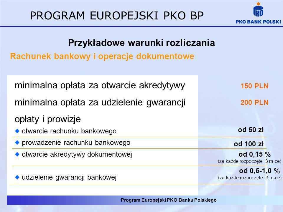 Program Europejski PKO Banku Polskiego PROGRAM EUROPEJSKI PKO BP Przykładowe warunki rozliczania Rachunek bankowy i operacje dokumentowe od 0,15 % (za