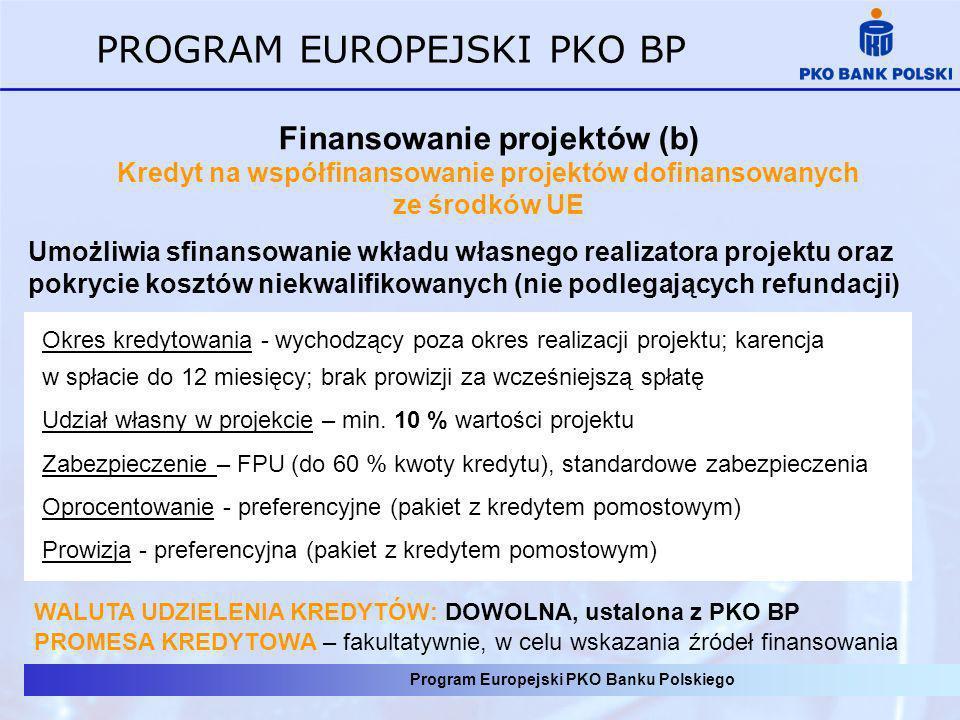 Program Europejski PKO Banku Polskiego PROGRAM EUROPEJSKI PKO BP Finansowanie projektów (b) Kredyt na współfinansowanie projektów dofinansowanych ze ś