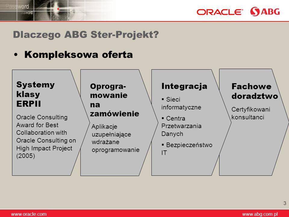 www.abg.com.pl www.oracle.com www.abg.com.pl 3 Kompleksowa oferta Dlaczego ABG Ster-Projekt? Fachowe doradztwo Certyfikowani konsultanci Integracja Si