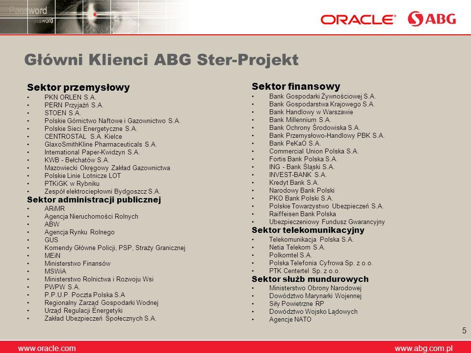 www.abg.com.pl www.oracle.com www.abg.com.pl 5 Główni Klienci ABG Ster-Projekt Sektor przemysłowy PKN ORLEN S.A. PERN Przyjaźń S.A. STOEN S.A. Polskie