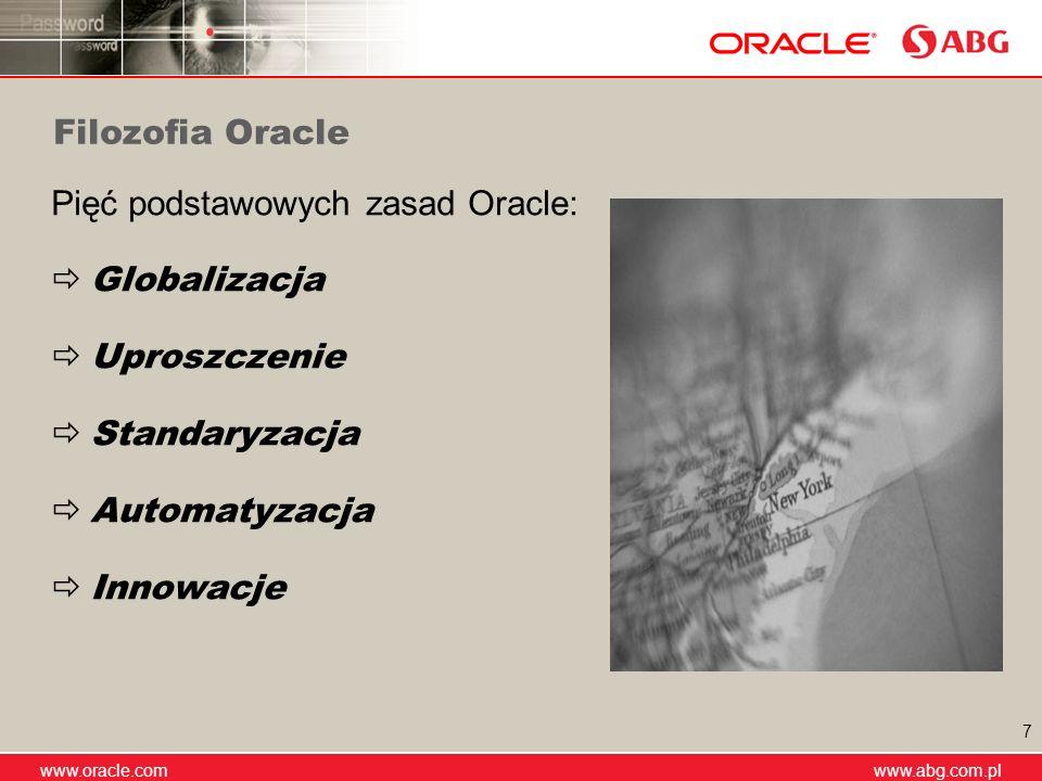 www.abg.com.pl www.oracle.com www.abg.com.pl 7 Filozofia Oracle Pięć podstawowych zasad Oracle: Globalizacja Uproszczenie Standaryzacja Automatyzacja
