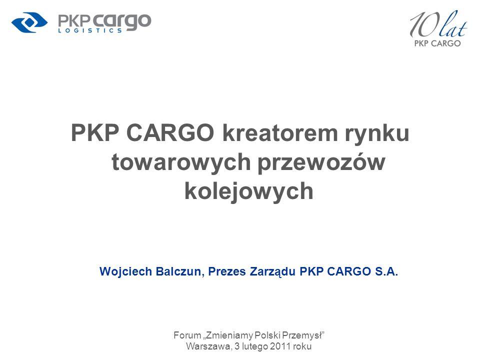 Lider rynku towarowego w Polsce Źródło: GUS *2010 – dane wstępne 3 245,4 248,8 200,8 211,6 59% 54% 52% 56% mln ton