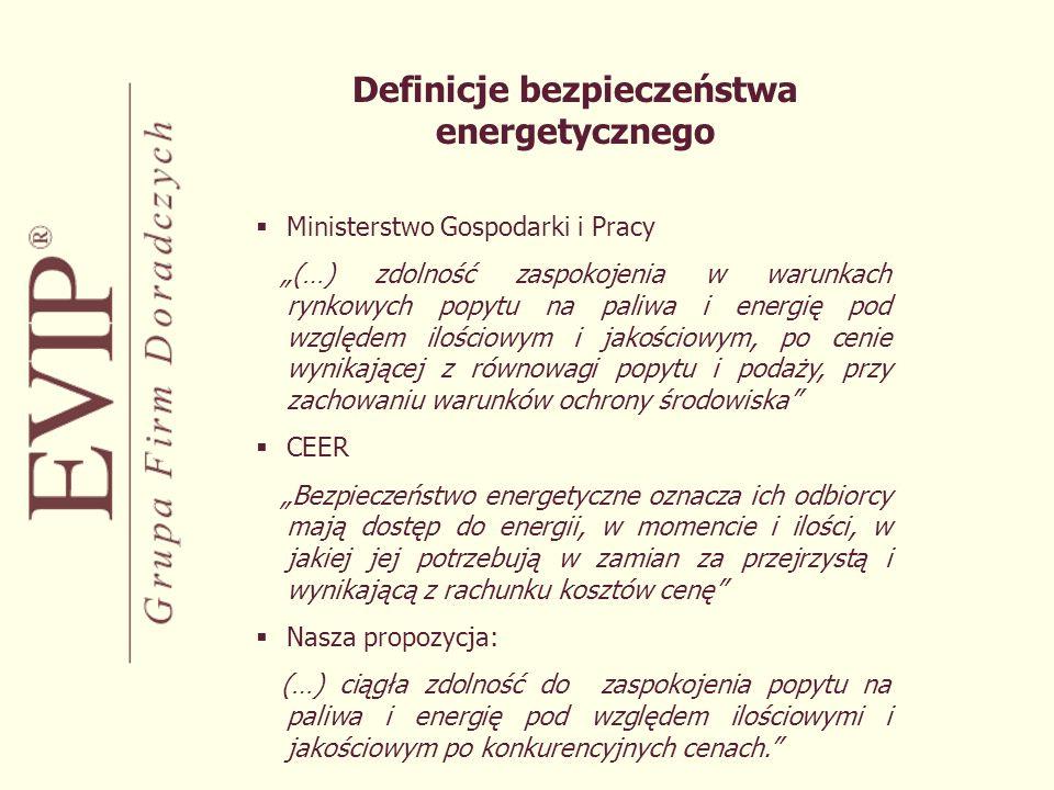 Kształtowanie bezpieczeństwa energetycznego Podmioty uczestniczące w kształtowaniu bezpieczeństwa energetycznego: Administracja państwowa Operatorzy Wytwórcy Odbiorcy Inwestorzy Ciężar kształtowania bezpieczeństwa energetycznego w aspektach czasowych: bezpieczeństwo długookresowe (strategiczne) – administracja państwowa i inwestorzy bezpieczeństwo krótko i średniookresowe – operatorzy, odbiorcy i wytwórcy
