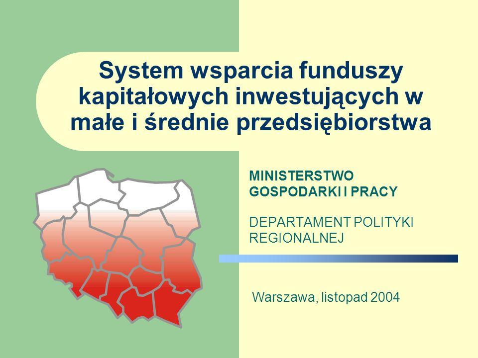 System wsparcia funduszy kapitałowych inwestujących w małe i średnie przedsiębiorstwa MINISTERSTWO GOSPODARKI I PRACY DEPARTAMENT POLITYKI REGIONALNEJ Warszawa, listopad 2004