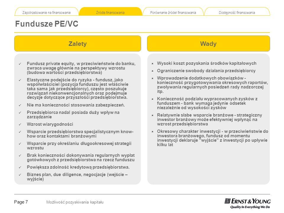 Page 7 Możliwość pozyskiwania kapitału Zapotrzebowanie na finansowanie Źródła finansowania Porównanie źródeł finansowania Dostępność finansowania Fund