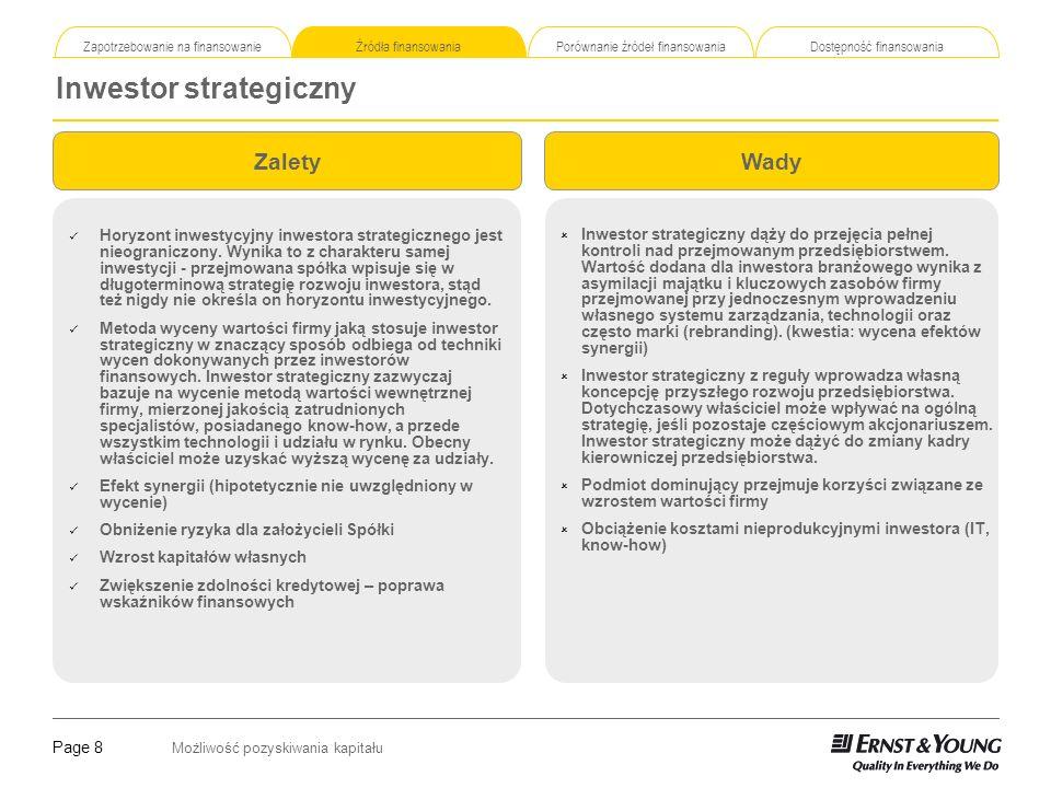 Page 8 Możliwość pozyskiwania kapitału Zapotrzebowanie na finansowanie Źródła finansowania Porównanie źródeł finansowania Dostępność finansowania Inwe
