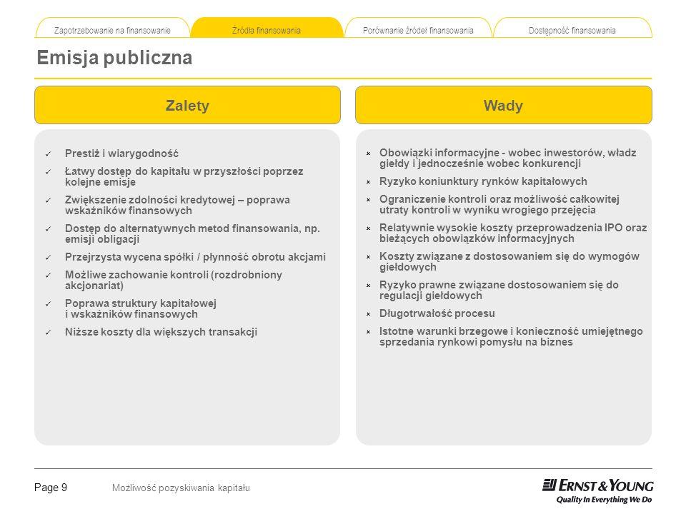 Page 9 Możliwość pozyskiwania kapitału Zapotrzebowanie na finansowanie Źródła finansowania Porównanie źródeł finansowania Dostępność finansowania Emis