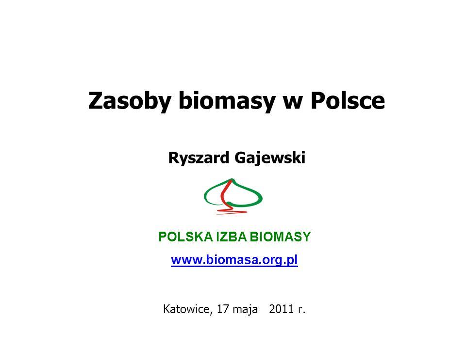 Zasoby biomasy w Polsce Ryszard Gajewski POLSKA IZBA BIOMASY www.biomasa.org.pl Katowice, 17 maja 2011 r.