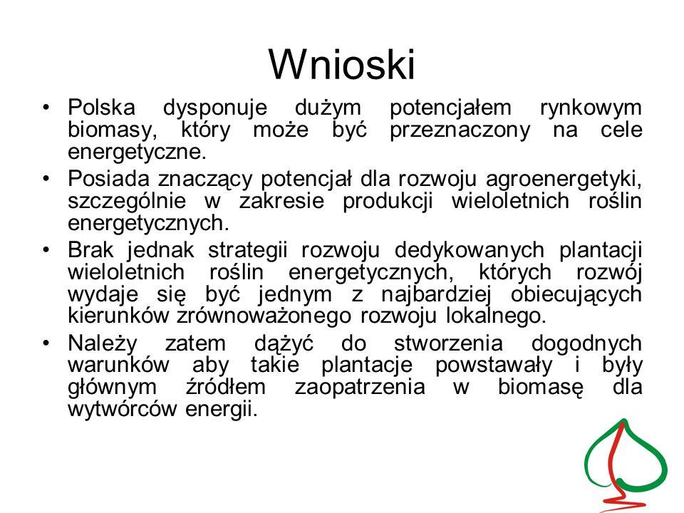 Wnioski Polska dysponuje dużym potencjałem rynkowym biomasy, który może być przeznaczony na cele energetyczne. Posiada znaczący potencjał dla rozwoju
