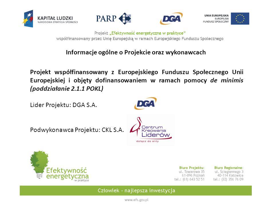 Informacje ogólne o Projekcie oraz wykonawcach Projekt współfinansowany z Europejskiego Funduszu Społecznego Unii Europejskiej i objęty dofinansowaniem w ramach pomocy de minimis (poddziałanie 2.1.1 POKL) Lider Projektu: DGA S.A.