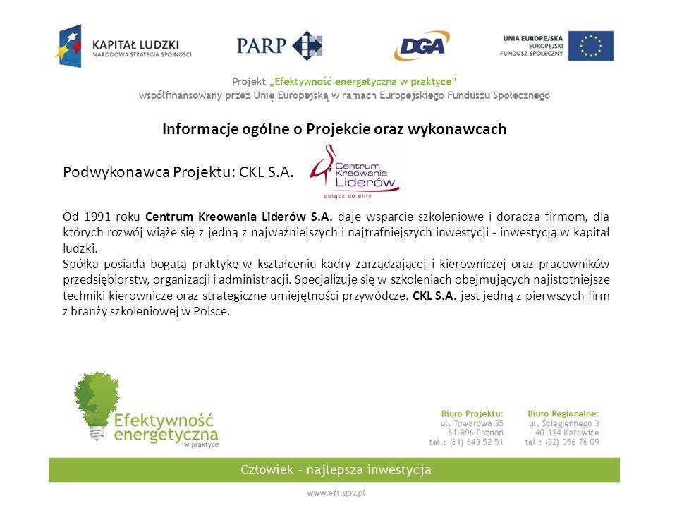 Podwykonawca Projektu: CKL S.A. Od 1991 roku Centrum Kreowania Liderów S.A.