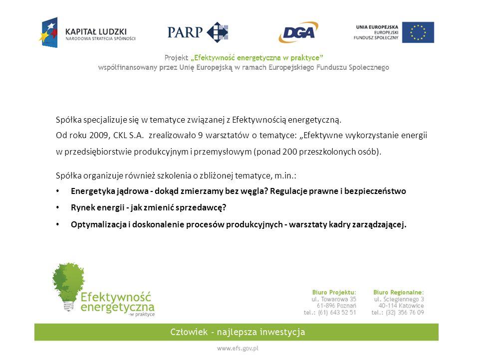 Spółka specjalizuje się w tematyce związanej z Efektywnością energetyczną.