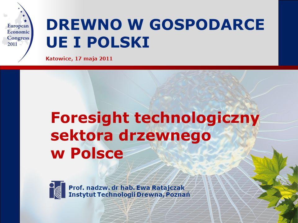 DREWNO W GOSPODARCE UE I POLSKI Prof. nadzw. dr hab. Ewa Ratajczak Instytut Technologii Drewna, Poznań Foresight technologiczny sektora drzewnego w Po