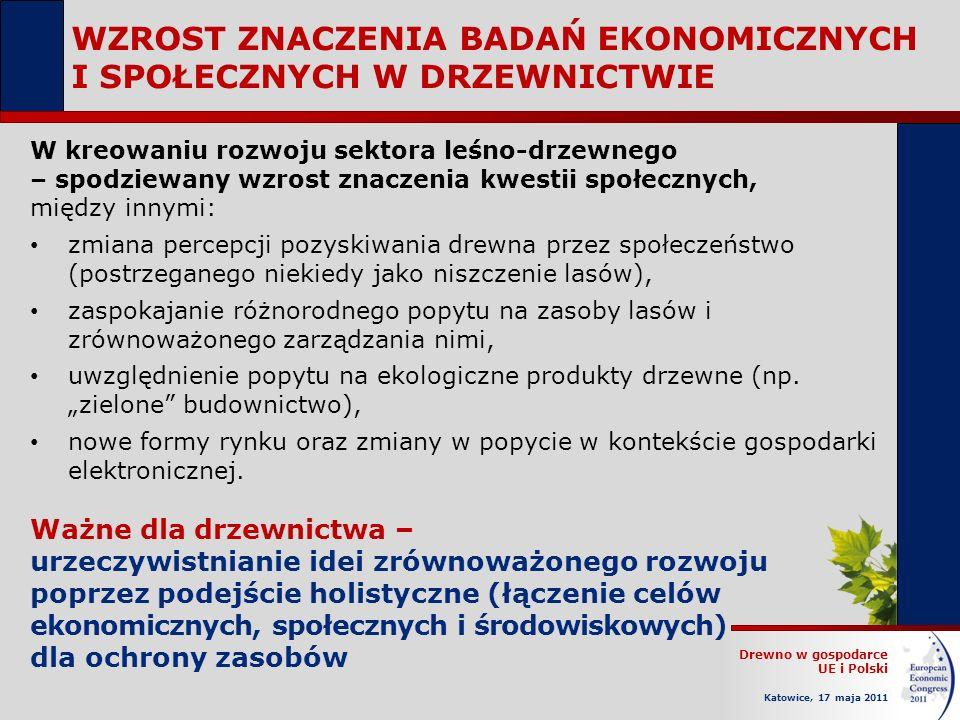 Drewno w gospodarce UE i Polski Katowice, 17 maja 2011 W kreowaniu rozwoju sektora leśno-drzewnego – spodziewany wzrost znaczenia kwestii społecznych,