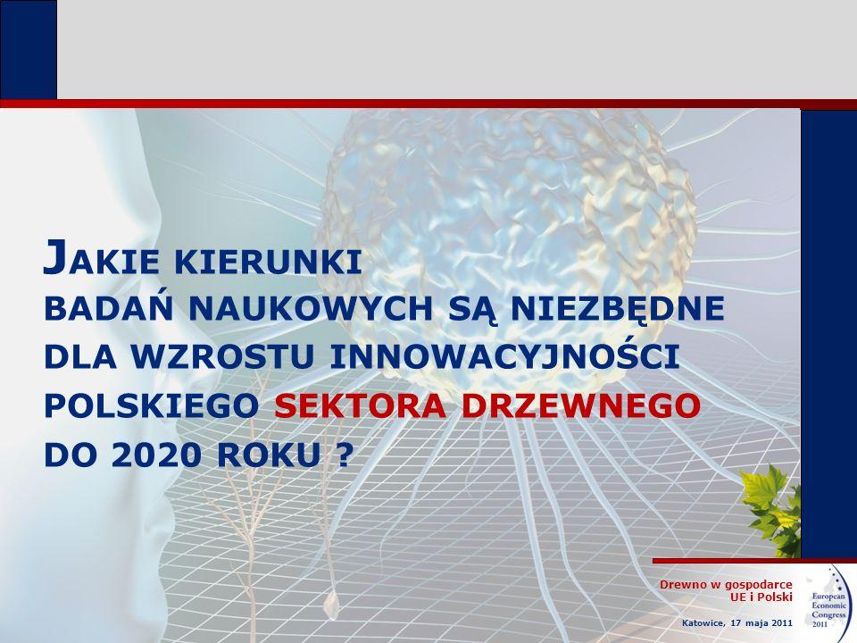 Drewno w gospodarce UE i Polski Katowice, 17 maja 2011 J AKIE KIERUNKI BADAŃ NAUKOWYCH SĄ NIEZBĘDNE DLA WZROSTU INNOWACYJNOŚCI POLSKIEGO SEKTORA DRZEW