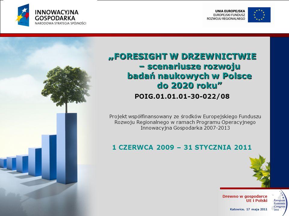 Drewno w gospodarce UE i Polski Katowice, 17 maja 2011 FORESIGHT W DRZEWNICTWIE – scenariusze rozwoju badań naukowych w Polsce do 2020 roku FORESIGHT