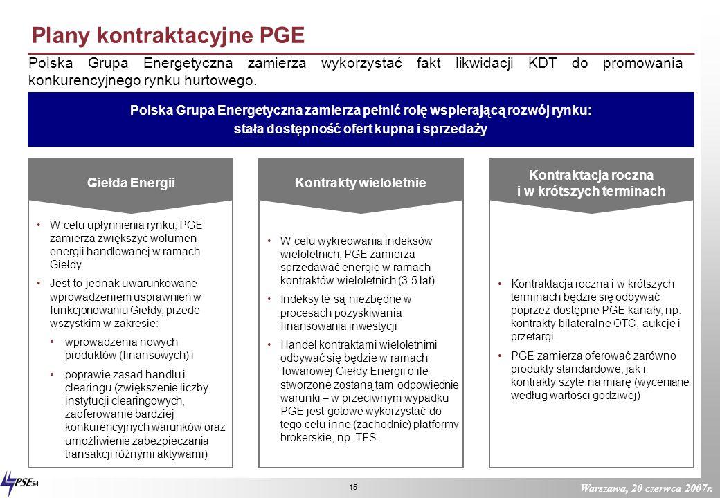 Warszawa, 20 czerwca 2007r. 14 Planowany model struktury organizacyjnej PGE Kluczem do budowy w pełni efektywnej grupy kapitałowej jest podział na jed