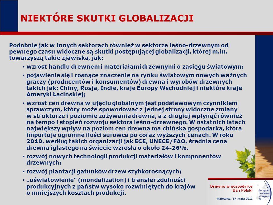 Drewno w gospodarce UE i Polski Katowice, 17 maja 2011 NIEKTÓRE SKUTKI GLOBALIZACJI Podobnie jak w innych sektorach również w sektorze leśno-drzewnym od pewnego czasu widoczne są skutki postępującej globalizacji, której m.in.