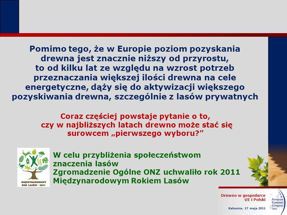 Drewno w gospodarce UE i Polski Katowice, 17 maja 2011 Pomimo tego, że w Europie poziom pozyskania drewna jest znacznie niższy od przyrostu, to od kilku lat ze względu na wzrost potrzeb przeznaczania większej ilości drewna na cele energetyczne, dąży się do aktywizacji większego pozyskiwania drewna, szczególnie z lasów prywatnych Coraz częściej powstaje pytanie o to, czy w najbliższych latach drewno może stać się surowcem pierwszego wyboru.