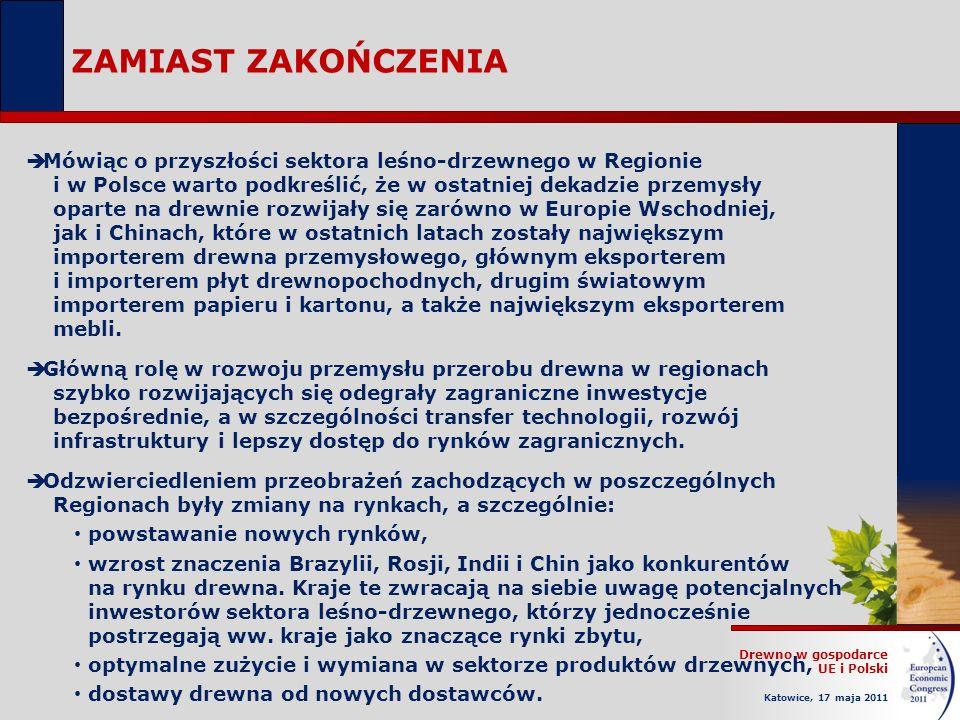 Drewno w gospodarce UE i Polski Katowice, 17 maja 2011 ZAMIAST ZAKOŃCZENIA Mówiąc o przyszłości sektora leśno-drzewnego w Regionie i w Polsce warto podkreślić, że w ostatniej dekadzie przemysły oparte na drewnie rozwijały się zarówno w Europie Wschodniej, jak i Chinach, które w ostatnich latach zostały największym importerem drewna przemysłowego, głównym eksporterem i importerem płyt drewnopochodnych, drugim światowym importerem papieru i kartonu, a także największym eksporterem mebli.