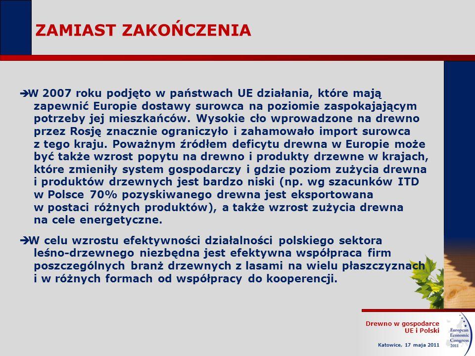 Drewno w gospodarce UE i Polski Katowice, 17 maja 2011 ZAMIAST ZAKOŃCZENIA W 2007 roku podjęto w państwach UE działania, które mają zapewnić Europie dostawy surowca na poziomie zaspokajającym potrzeby jej mieszkańców.