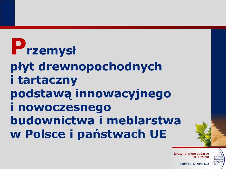 Drewno w gospodarce UE i Polski Katowice, 17 maja 2011 P rzemysł płyt drewnopochodnych i tartaczny podstawą innowacyjnego i nowoczesnego budownictwa i meblarstwa w Polsce i państwach UE