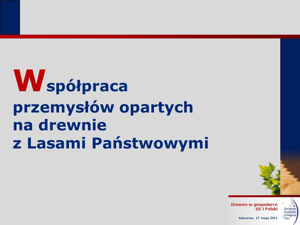 Drewno w gospodarce UE i Polski Katowice, 17 maja 2011 W spółpraca przemysłów opartych na drewnie z Lasami Państwowymi
