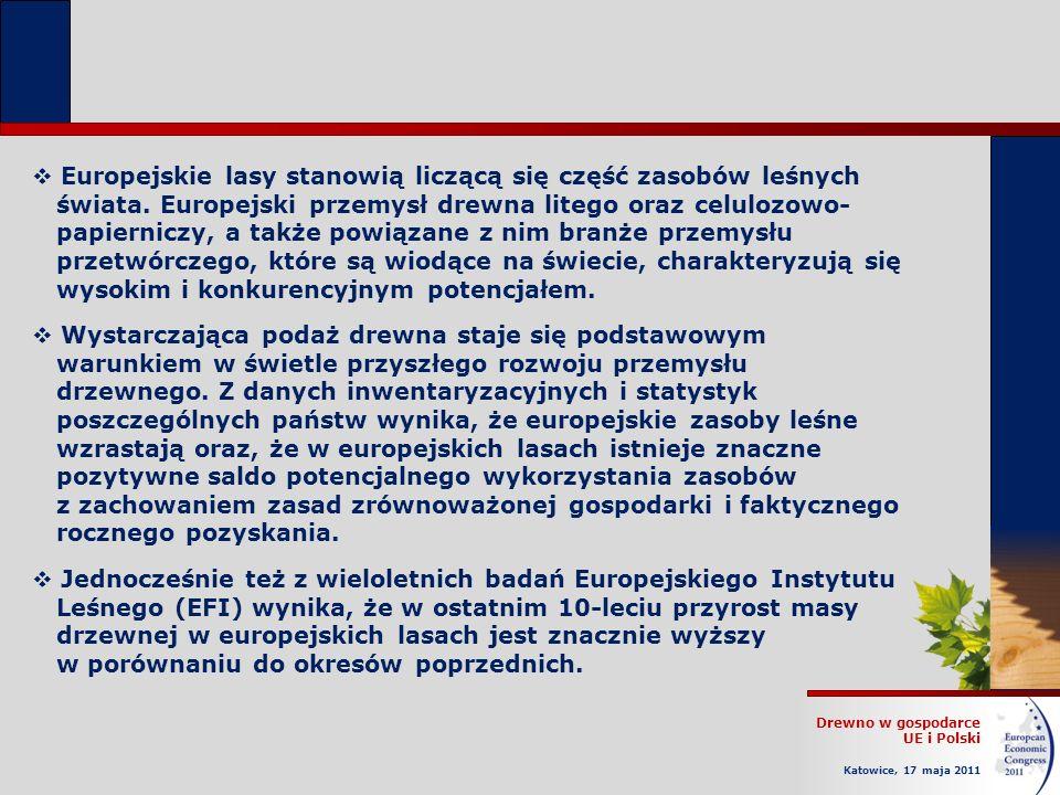 Drewno w gospodarce UE i Polski Katowice, 17 maja 2011 Europejskie lasy stanowią liczącą się część zasobów leśnych świata.