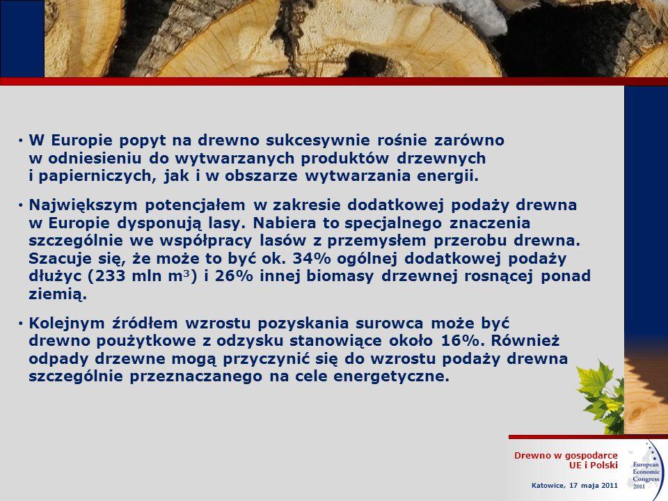 Drewno w gospodarce UE i Polski Katowice, 17 maja 2011 W Europie popyt na drewno sukcesywnie rośnie zarówno w odniesieniu do wytwarzanych produktów drzewnych i papierniczych, jak i w obszarze wytwarzania energii.