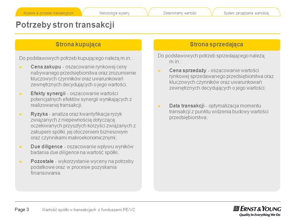 Page 3 Wartość spółki w transakcjach z funduszami PE/VC Wycena w procesie transakcyjnym Metodologia wyceny Determinanty wartości System zarządzania wartością Potrzeby stron transakcji Strona kupująca Do podstawowych potrzeb kupującego należą m.in.: Cena zakupu - oszacowanie rynkowej ceny nabywanego przedsiębiorstwa oraz zrozumienie kluczowych czynników oraz uwarunkowań zewnętrznych decydujących o jego wartości; Efekty synergii - oszacowanie wartości potencjalnych efektów synergii wynikających z realizowanej transakcji; Ryzyka - analiza oraz kwantyfikacja ryzyk związanych z niepewnością dotyczącą oczekiwanych przyszłych korzyści związanych z zakupem spółki, jej otoczeniem biznesowym oraz czynnikami makroekonomicznymi; Due diligence - oszacowanie wpływu wyników badania due diligence na wartość spółki; Pozostałe - wykorzystanie wyceny na potrzeby podatkowe oraz w procesie pozyskania finansowania.