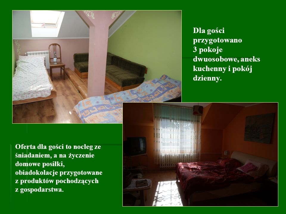 Dla gości przygotowano 3 pokoje dwuosobowe, aneks kuchenny i pokój dzienny. Oferta dla gości to nocleg ze śniadaniem, a na życzenie domowe posiłki, ob