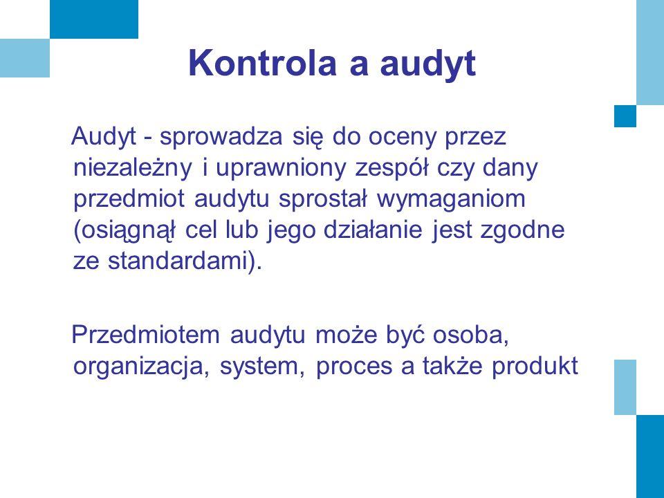 Kontrola a audyt Audyt - sprowadza się do oceny przez niezależny i uprawniony zespół czy dany przedmiot audytu sprostał wymaganiom (osiągnął cel lub j