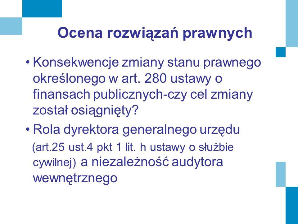 Ocena rozwiązań prawnych Konsekwencje zmiany stanu prawnego określonego w art. 280 ustawy o finansach publicznych-czy cel zmiany został osiągnięty? Ro