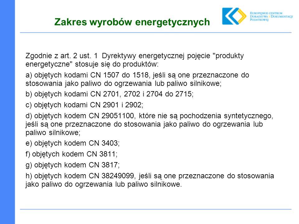 Zakres wyrobów energetycznych Zgodnie z art. 2 ust.