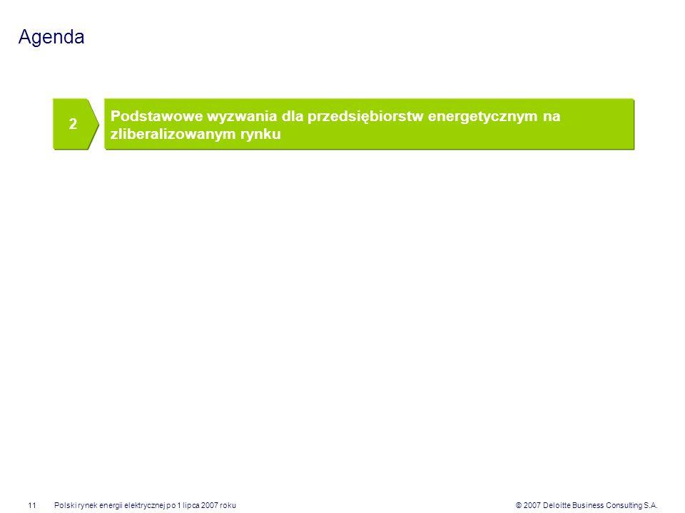 © 2007 Deloitte Business Consulting S.A.Polski rynek energii elektrycznej po 1 lipca 2007 roku11 Agenda Podstawowe wyzwania dla przedsiębiorstw energe