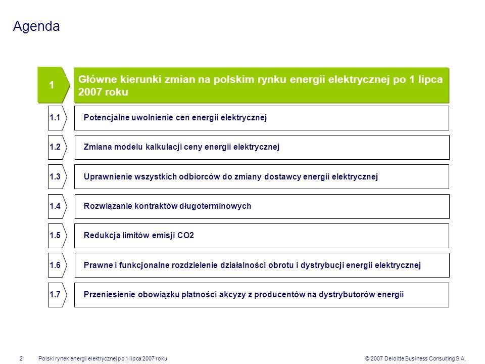 © 2007 Deloitte Business Consulting S.A.Polski rynek energii elektrycznej po 1 lipca 2007 roku2 Agenda Główne kierunki zmian na polskim rynku energii