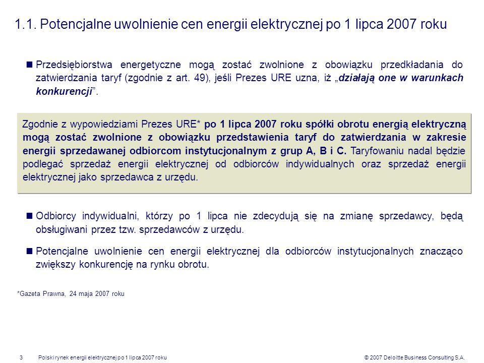 © 2007 Deloitte Business Consulting S.A.Polski rynek energii elektrycznej po 1 lipca 2007 roku3 1.1. Potencjalne uwolnienie cen energii elektrycznej p